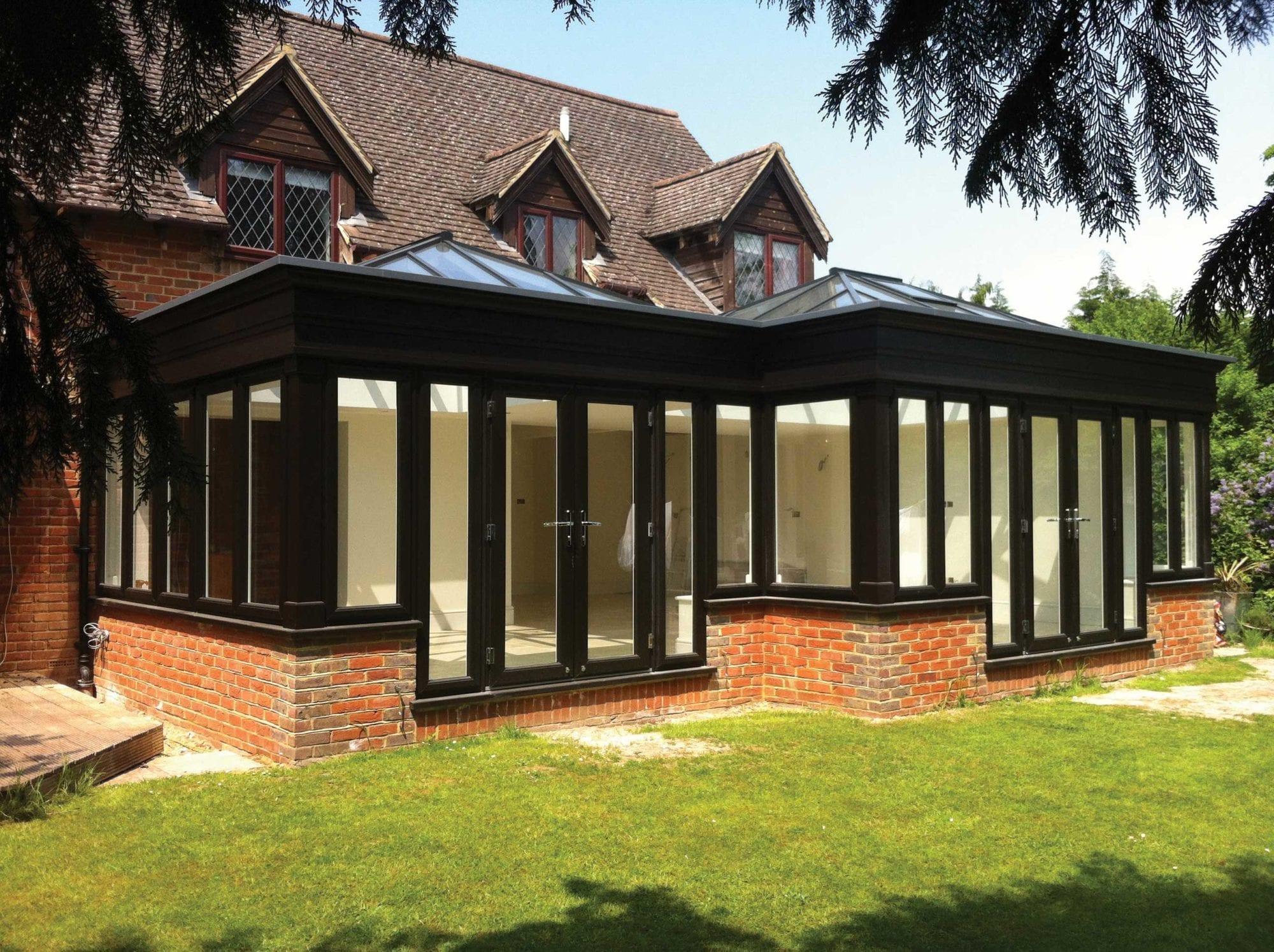 Quickslide black frame conservatory