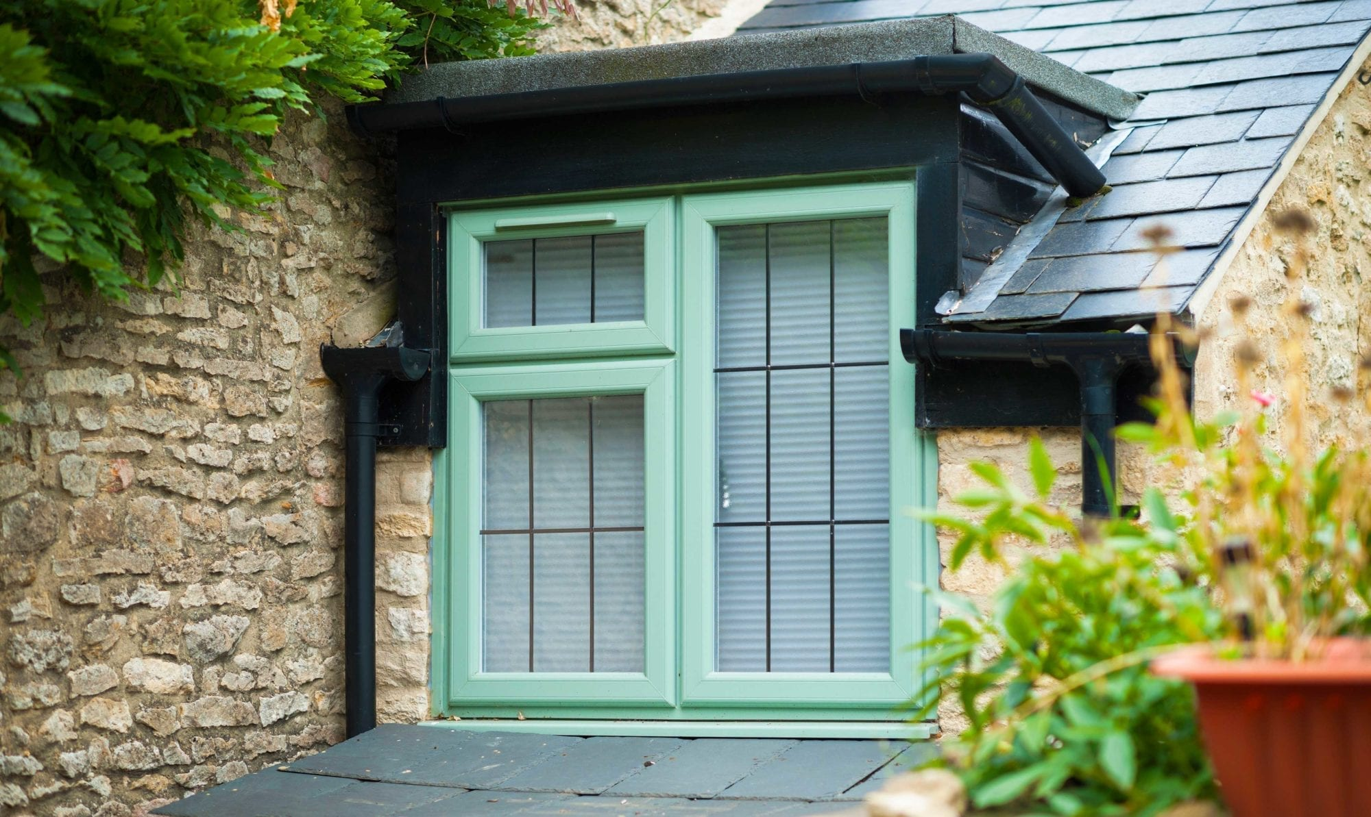 green pvcu window