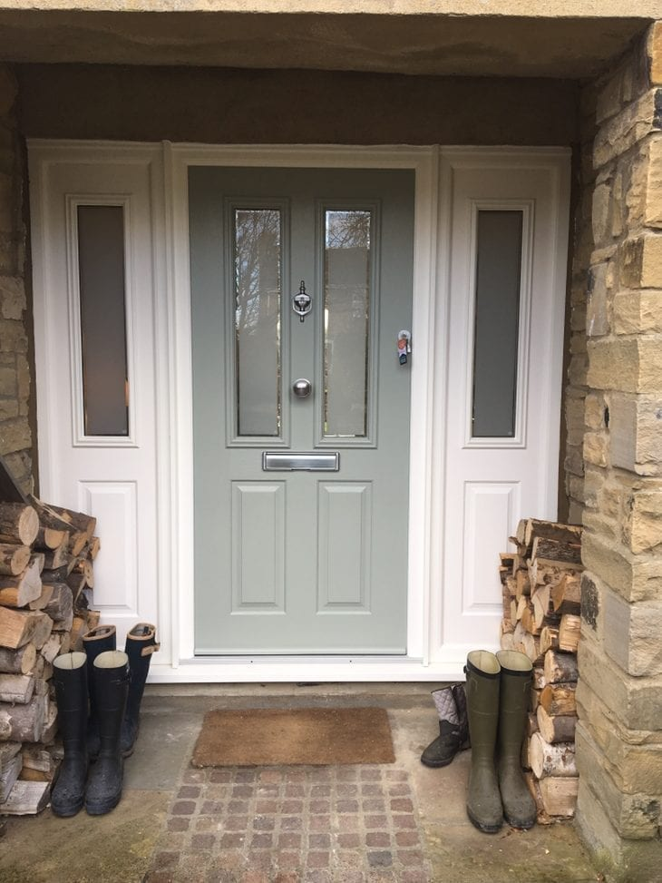 Composite Door in French grey with white frame