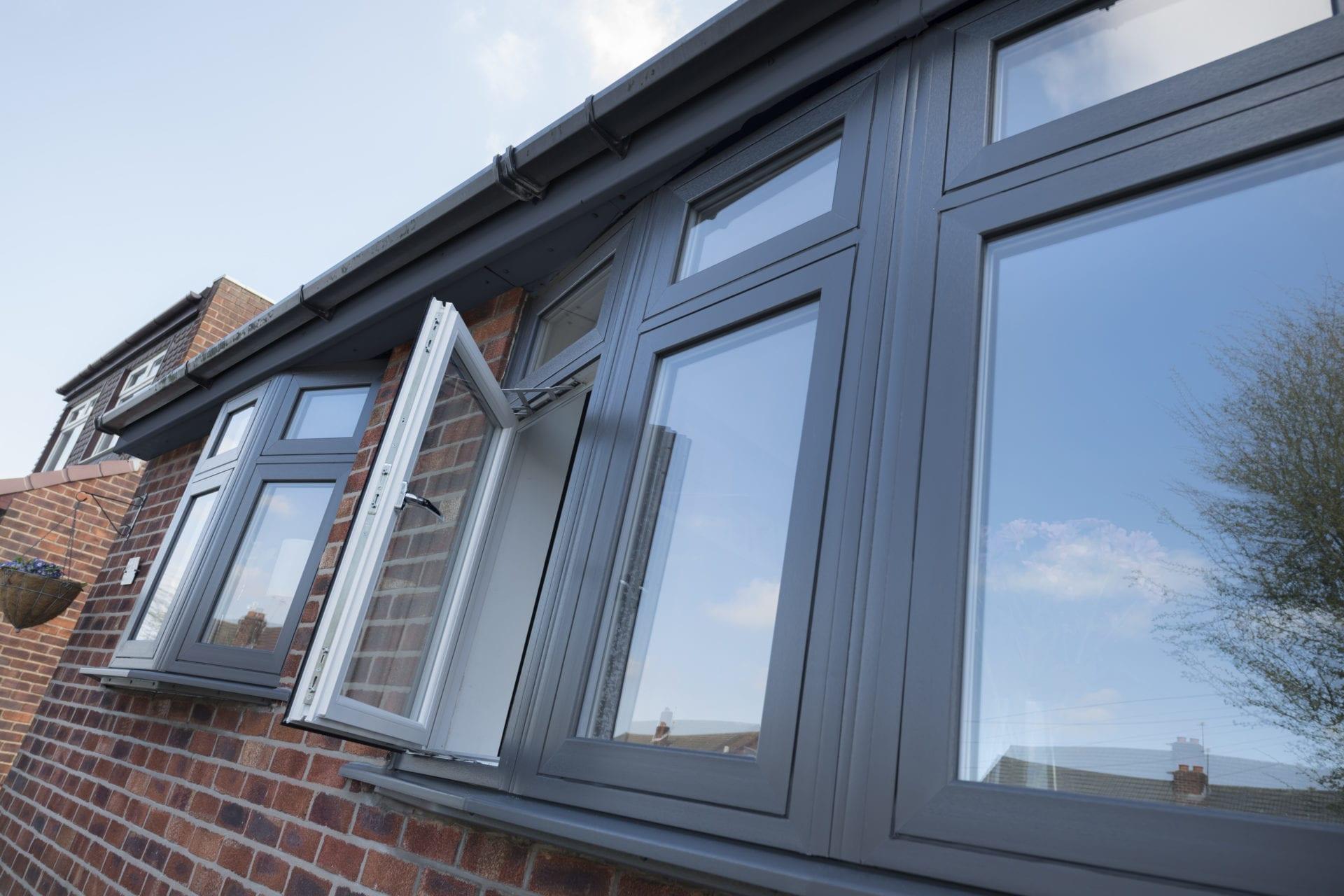 PVCu Flush Casement Windows in Smooth Grey