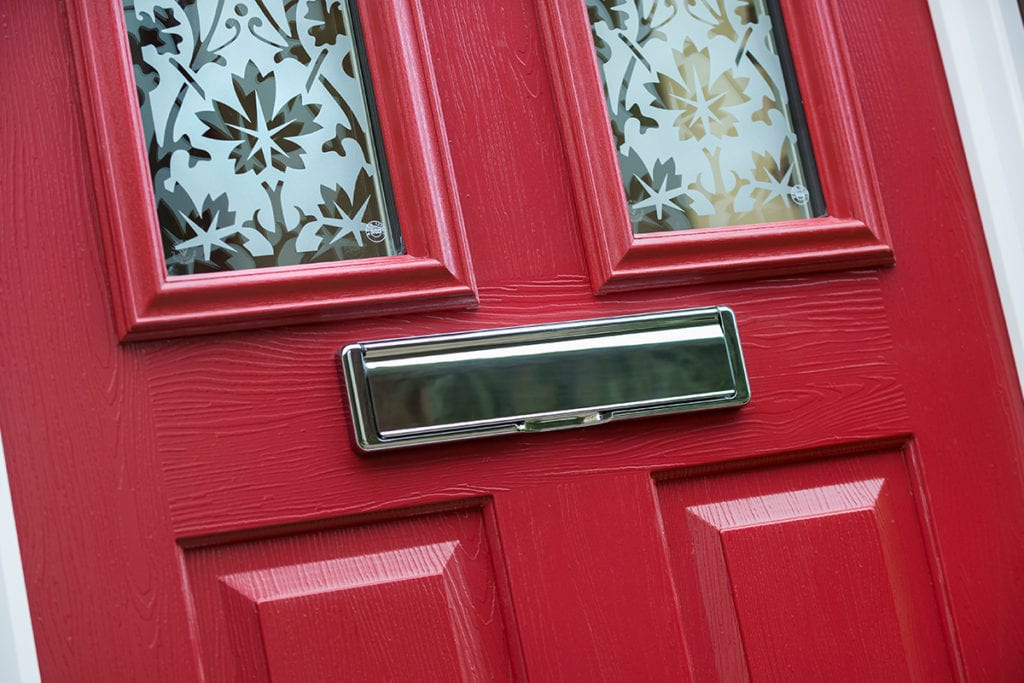Composite Door in red with bespoke glass