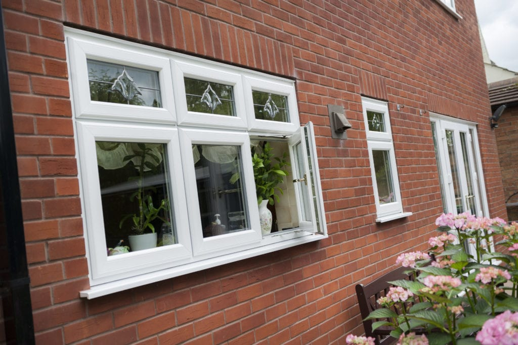 PVCu Casement Windows in smooth white with bespoke glass