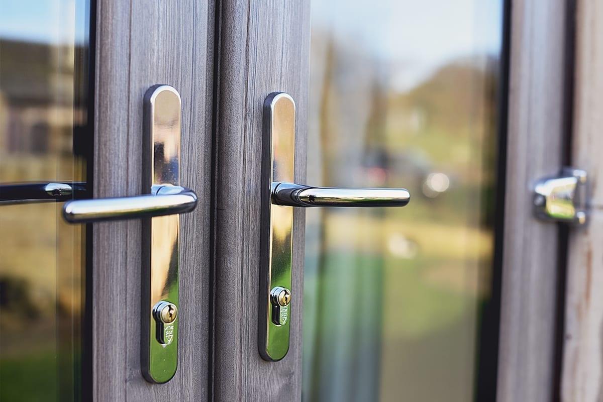 PVCu French Doors in living oak