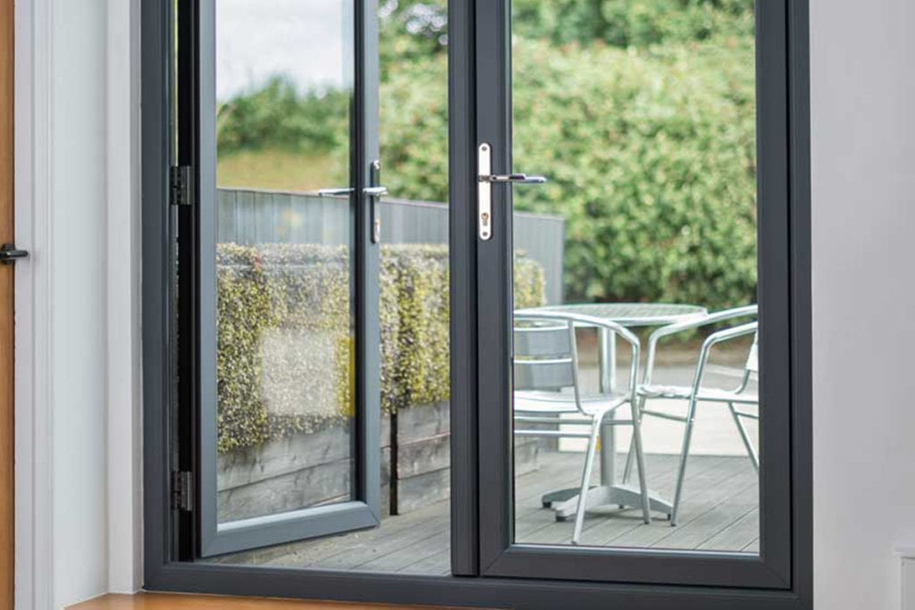 PVCu Flush french Doors in grey