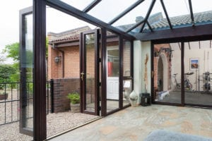 PVCu French Doors in rosewood