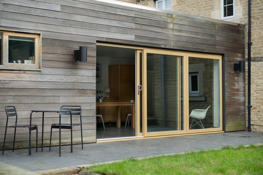 PVCu Sliding Patio Doors in irish oak