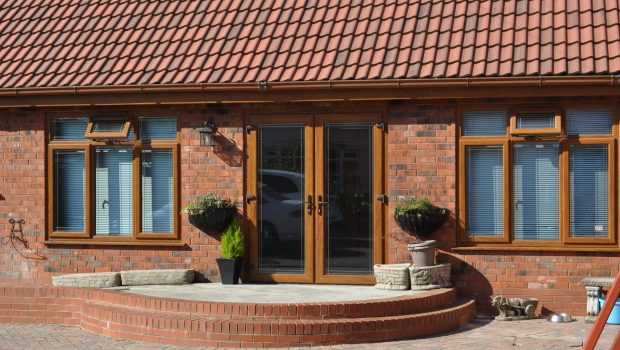 PVCu French Doors in golden oak