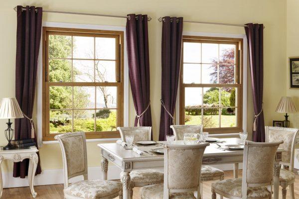 Georgian sash windows and dining room