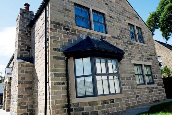 Modern Black Aluminium PVCu Bay Window