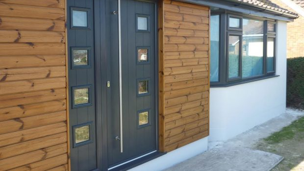 composite door with glass panels