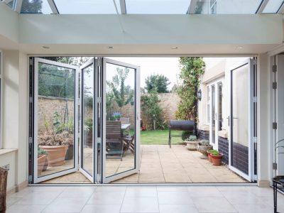 White Aluminium Bi-Fold Doors