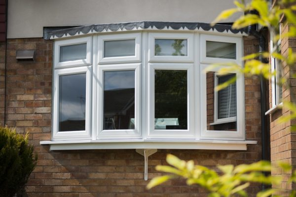 White Bow Window with Lead Cladding