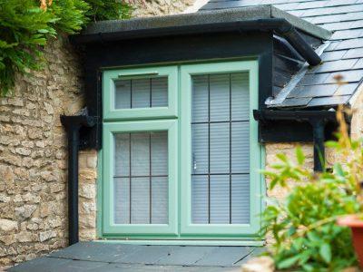 green pvcu window